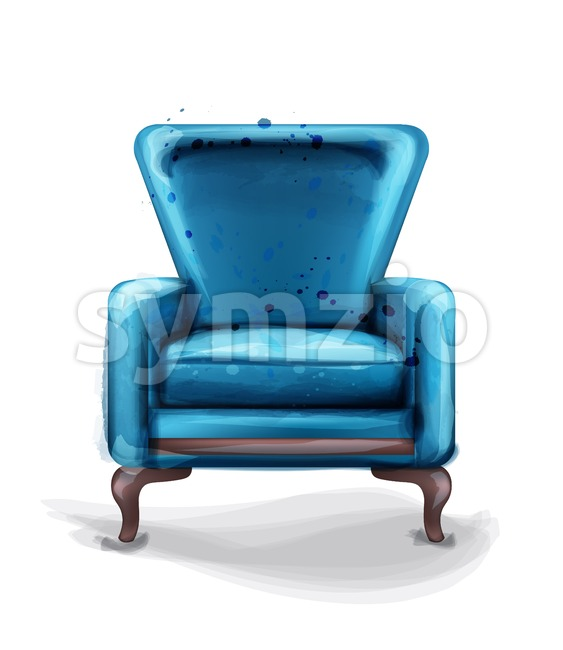 Vintage retro armchair Vector watercolor. Modern style furniture. Old effect design Stock Vector