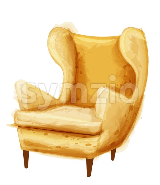 Vintage retro armchair Vector watercolor. Modern style furniture. Old effect design