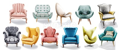 Vintage retro armchair set collection Vector watercolor. Modern style furniture. Old effect design Stock Vector