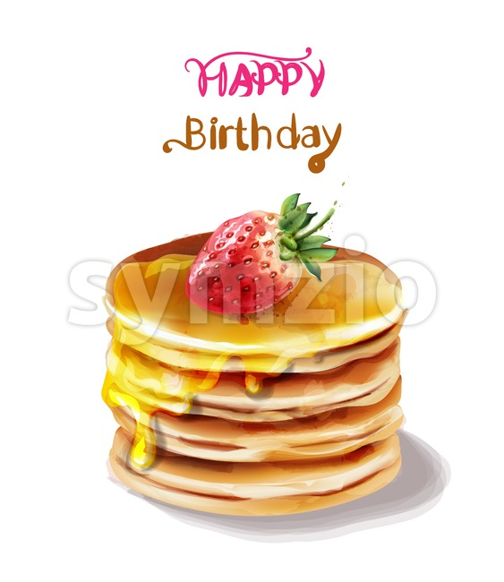 Happy birthday cake Vector watercolor. Juicy filling and fruits topping Stock Vector
