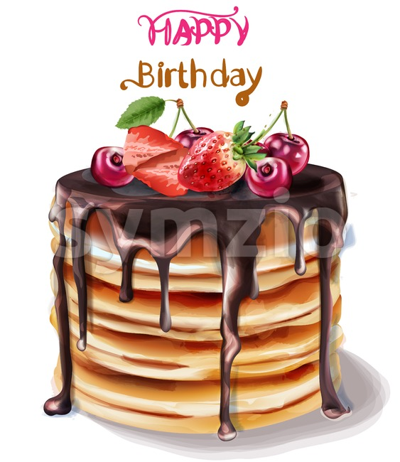 Happy birthday cake Vector watercolor. Chocolate filling and fruits topping