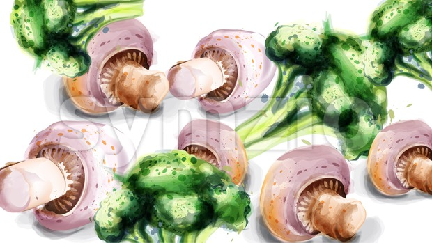 Vegetables watercolor Vector background. Mushrooms, corn and brocoli green eco product Stock Vector