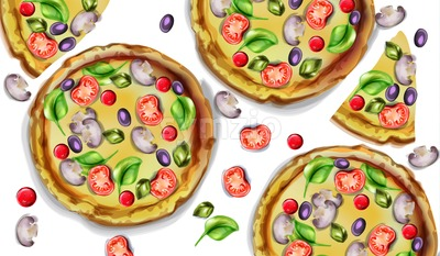 Pizza pattern vector watercolor. Delicious texture menu template Stock Vector