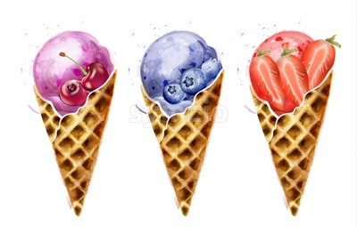 Ice cream cones Vector watercolor. Sweet colorful summer desserts icon Stock Vector