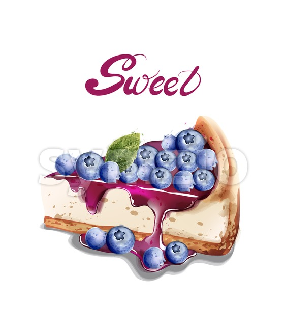 Sweet berry cheesecake Vector watercolor. delicious desserts with fruit toping