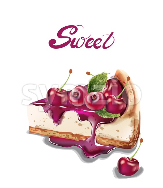 Sweet cherry cheesecake Vector watercolor. delicious desserts with fruit toping Stock Vector