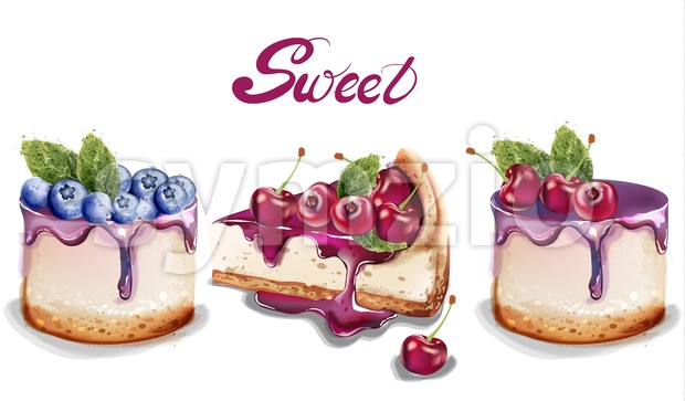 Sweet cakes set Vector watercolor. delicious desserts with fruit topings. cherry and blueberry flavour Stock Vector