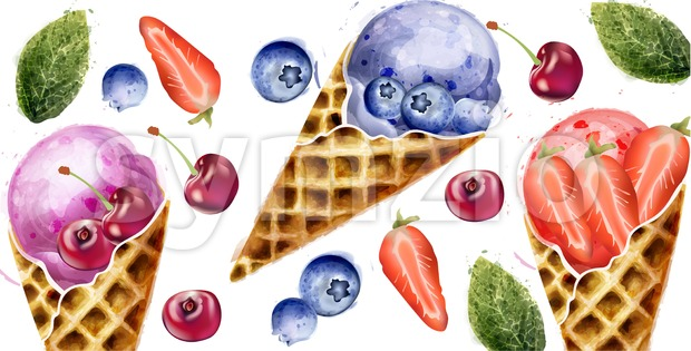 Ice cream and fruits summer pattern Vector watercolor. Delcious dessert illustration Stock Vector