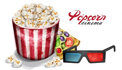 Popcorn and cinema glasses Vector watercolor. movie concept poster Stock Vector