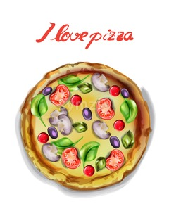I love pizza Vector watercolor. Template icon poster. delicious food Stock Vector