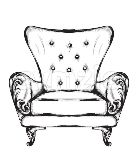 Rich baroque armchair Vector. Retro style furniture. Vintage design