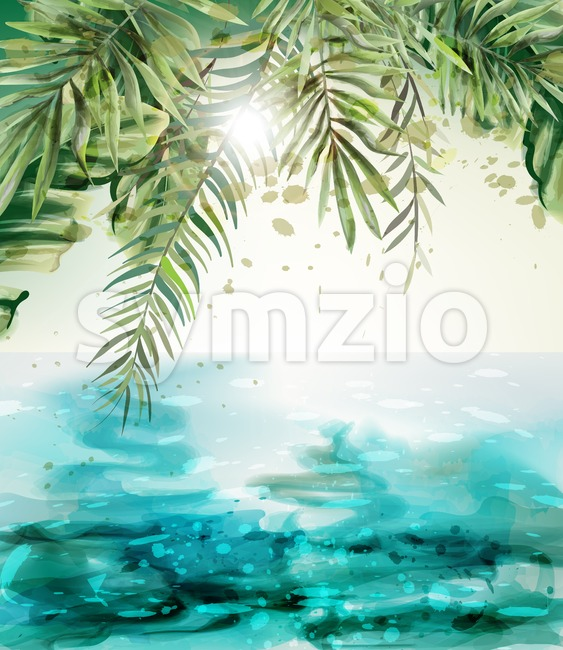 Blue seaside Summer tropic card Vector watercolor. Palm leaves and sunshine vintage design