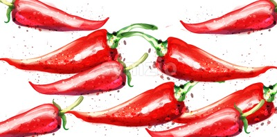 Chili Vector watercolor pattern. Menu restaurant textures on white Stock Vector