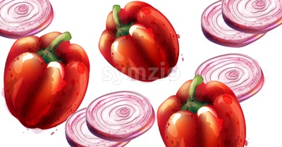 Red pepper and onion Vector pattern. Menu restaurant texture Stock Vector