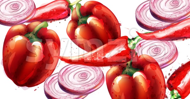 Red pepper and onion Vector pattern. Menu restaurant texture watercolor Stock Vector