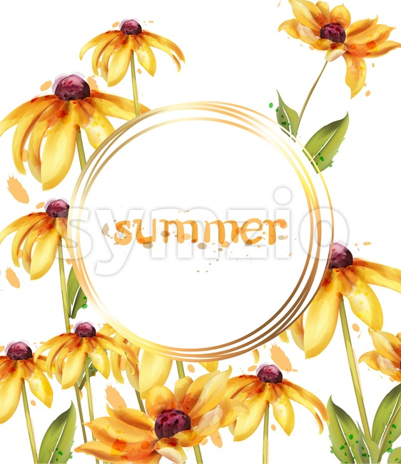 Yellow flowers Vector watercolor card. Summer floral decoration