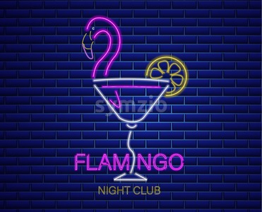 Neon flamingo cocktail sign Vector. Summer exotic banner Vector. Night club poster label. Bright glowing signboard Stock Vector