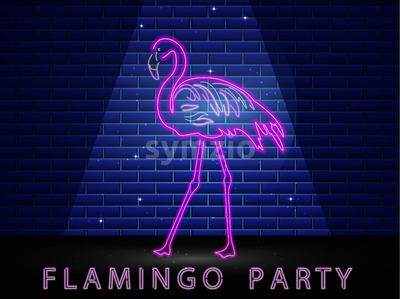 Neon flamingo shining banner Vector. Night club poster label. Bright glowing signboard with light Stock Vector