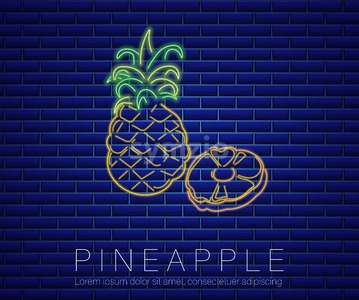 Pineapple neon sign Vector. Summer party banner poster dark background Stock Vector