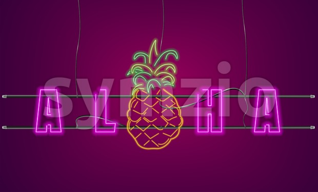 Neon text pineapple sign Vector. Aloha Summer party banner poster Stock Vector