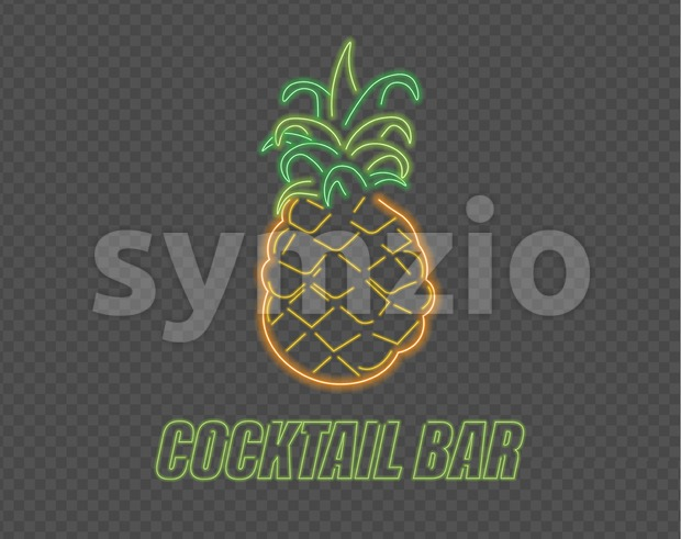 Neon pineapple cocktail sign Vector. Summer party banner poster menu Stock Vector