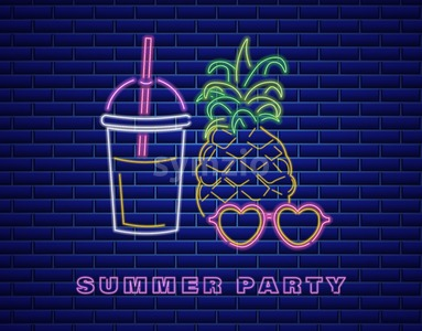 Neon pineapple cocktail Vector. Summer party banner poster Stock Vector