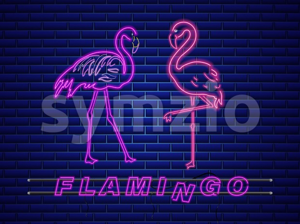 Neon flamingos banner Vector. Night club poster label. Bright glowing signboard Stock Vector