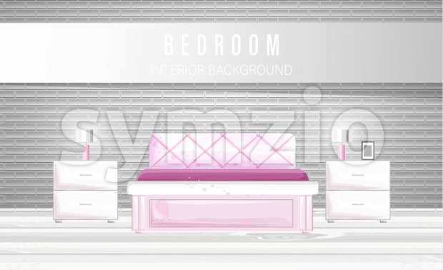 White bedroom interior watercolor Vector. Modern style design