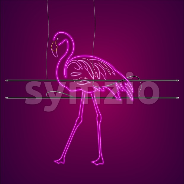 Neon flamingo sign with supports Vector. Night club poster label. Bright glowing signboards with light Stock Vector