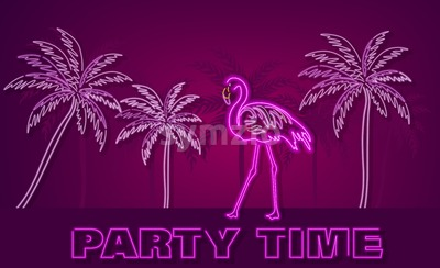 Flamingo and palm trees neon tropic banner Vector. Summer Night club poster label. Bright glowing signboard Stock Vector