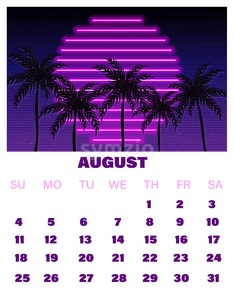 August neon calendar Vector. Summer decor design tropic sunset Stock Vector