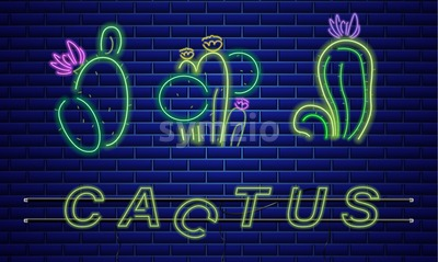 Cactus neon sign Vector. Exotic summer decoration design poster Stock Vector
