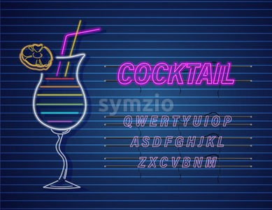Cocktail drink neon Vector. Summer tropic drink banner poster Stock Vector