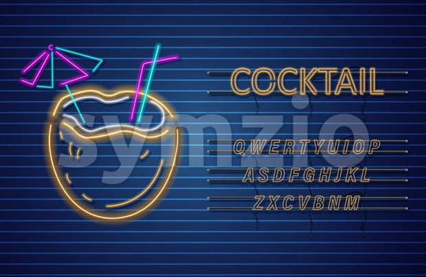 Coconut cocktail neon Vector. Summer tropic drink banner poster
