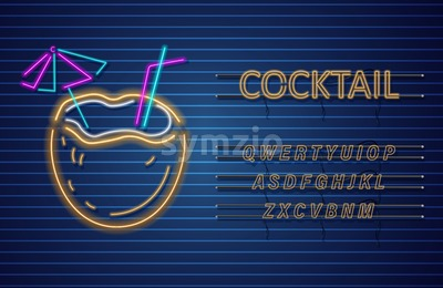 Coconut cocktail neon Vector. Summer tropic drink banner poster Stock Vector