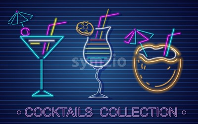 Cocktails set neon Vector. Summer tropic drink banner poster Stock Vector