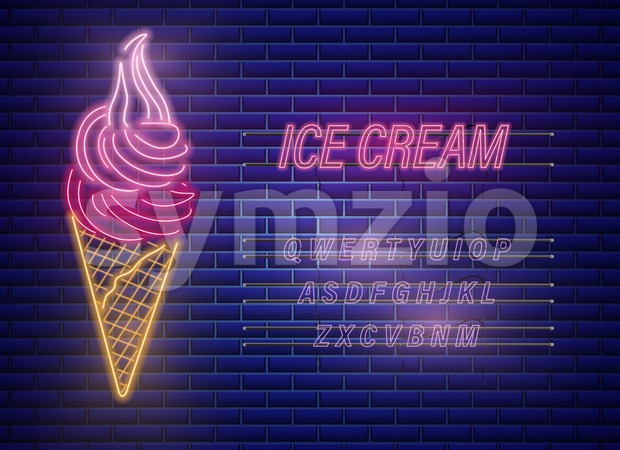 Ice cream cone neon Vector. Delicious dessert design label poster Stock Vector