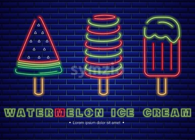 Watermelon ice cream neon Vector. Delicious dessert design label poster Stock Vector