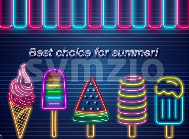 Ice cream neon summer banner Vector. Delicious dessert design label poster Stock Vector