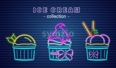 Ice cream cups neon Vector. Delicious dessert design label poster Stock Vector