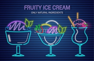 Ice cream neon fruits set Vector. Delicious dessert design label poster Stock Vector