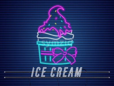 Ice cream cup with bow neon Vector. Delicious dessert design label poster Stock Vector