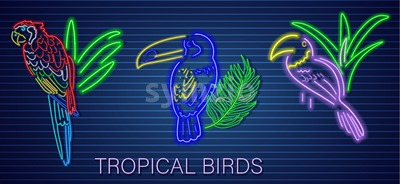 Tropic parrot set neon Vector. Glowing shiny birds decor template Stock Vector