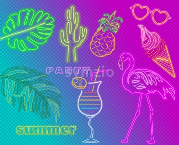 Neon flamingo summer tropic banner Vector. Night club poster label. Bright glowing signboard Stock Vector