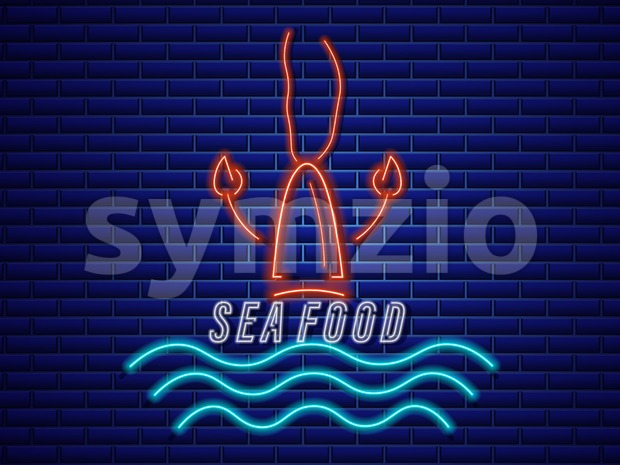 Lobster neon Vector icon. Fresh glowing symbol template