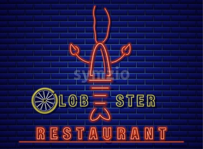 Lobster neon Vector icon. Fresh glowing symbol template Stock Vector