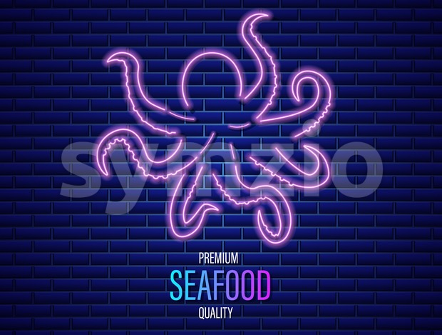 Octopus neon Vector icon. Fresh glowing symbol template Stock Vector