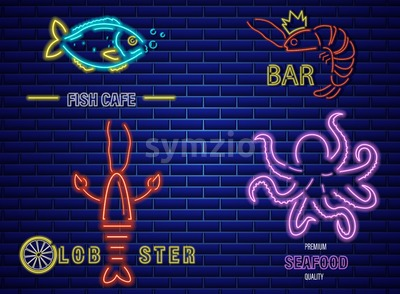 Fish neon Vector icons set. Lobster, octopus and prawns symbol template Stock Vector