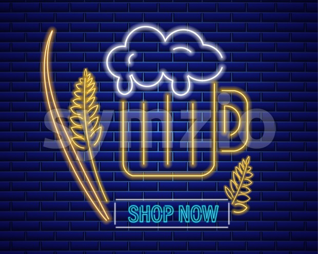 Beer glasse neon sign Vector. Fresh drink symbol icon template Stock Vector