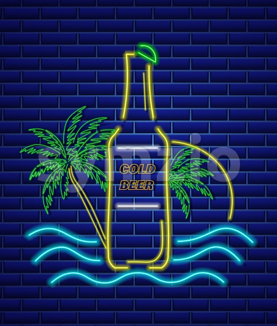 Beer bottle neon sign Vector. Summer icon tropic background